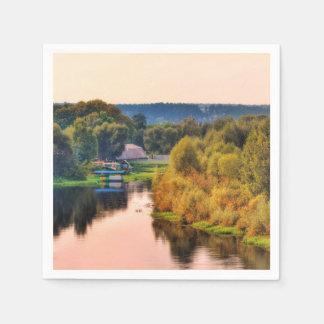 Servilletas Desechables Servilleta de papel del paisaje rural del otoño