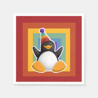 Servilletas Desechables Servilleta del cuadrado del arco iris del pingüino
