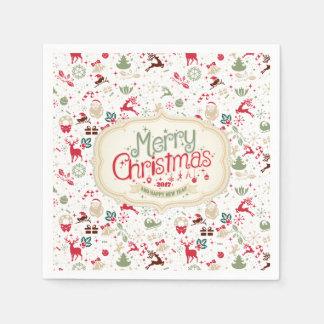 Servilletas Desechables Servilleta del navidad elegante de Ditsy y del Año