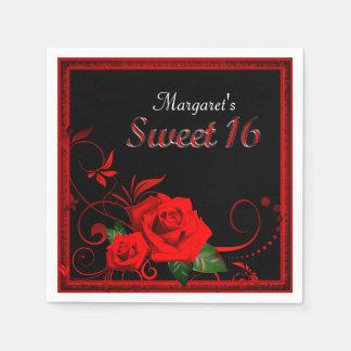 Servilletas Desechables Servilleta hermosa del dulce 16 del rosa rojo