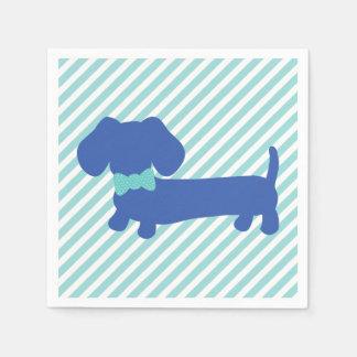 Servilletas Desechables Servilletas azules del perro de la salchicha de