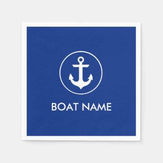 Servilletas Desechables Servilletas azules náuticas del cóctel del nombre