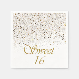 Servilletas Desechables Servilletas del dulce 16 del confeti del oro