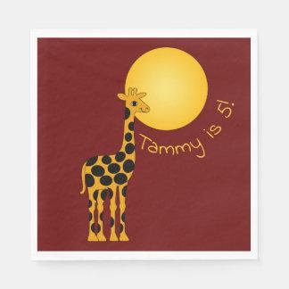 Servilletas Desechables Sun brilla en jirafa del feliz cumpleaños