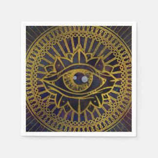 Servilletas Desechables Todo el oro místico del ojo que ve en el cielo de