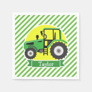 Servilletas Desechables Tractor de granja verde con amarillo;  Verde y