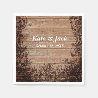 Servilletas elegantes de madera rústicas del boda servilleta desechable
