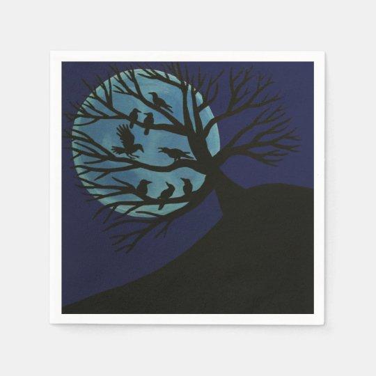 Servilletas fantasmagóricas del árbol del cuervo servilleta desechable