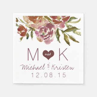 Servilletas florales del boda de la caída de servilleta de papel
