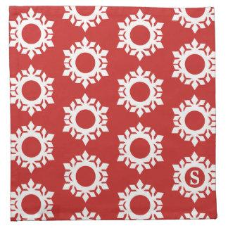 Servilletas rojas del paño del monograma del