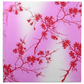Servilletas rosadas de los flores de la cereza