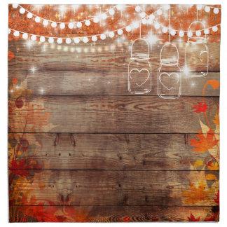 Servilletas rústicas del otoño de la caída con los
