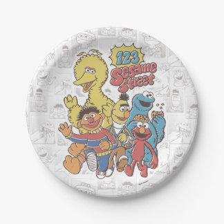 Sesame Street del vintage 123 Plato De Papel
