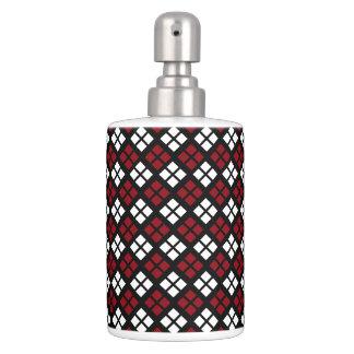 Set De Baño Modelo rojo y blanco elegante de Argyle en negro