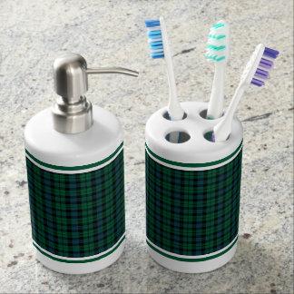 Set De Baño Modelo verde, azul y negro de la tela escocesa