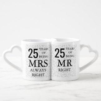 Set De Tazas De Café 25to aniversario del confeti de plata de los