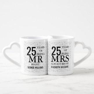 Set De Tazas De Café 25to Sr. señora la Right del aniversario de los