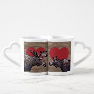 Set De Tazas De Café Amantes del beso de los alces que casan el sistema