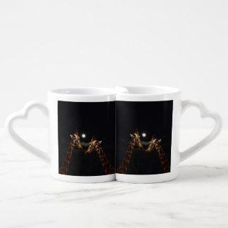 Set De Tazas De Café Amor de la jirafa en el claro de luna,