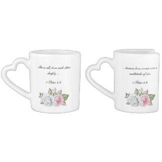 Set De Tazas De Café Amor profundamente escritura