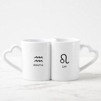 Set De Tazas De Café Astrología de los zodiacos del agua-portador y de