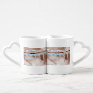 Set De Tazas De Café azul en un día helado
