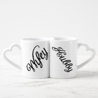 Set De Tazas De Café Boda retro lindo de la escritura de Wifey y del