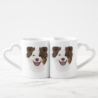 Set De Tazas De Café Border collie feliz de la cara de los perros del