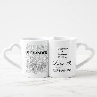 Set De Tazas De Café Casando a los recienes casados novia y novio del |