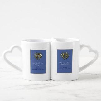 Set De Tazas De Café Corazón del boda del azul y del oro