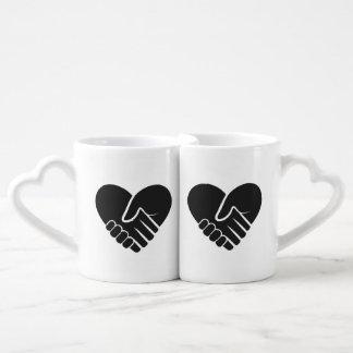 Set De Tazas De Café Corazón negro conectado amor