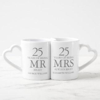 Set De Tazas De Café Cualquie Sr. señora la Right de la plata del