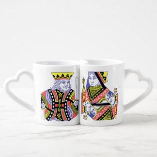 Set De Tazas De Café Cubierta de los naipes rey y de la reina