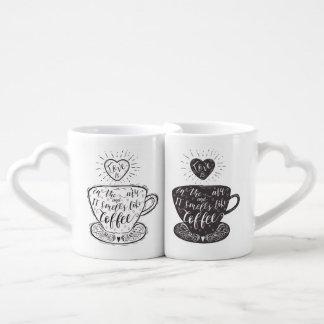 Set De Tazas De Café El amor está en el aire y los olores como sistema