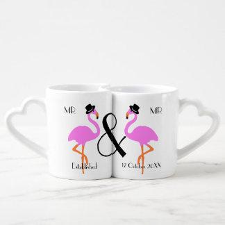 Set De Tazas De Café El flamenco prepara Sr. y a Sr. Personalized