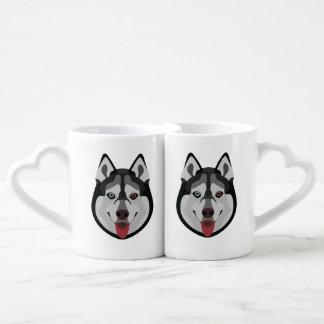 Set De Tazas De Café El ilustracion persigue el husky siberiano de la