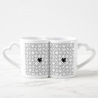 Set De Tazas De Café El modelo que falta del pedazo del rompecabezas