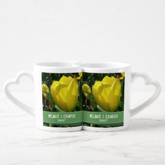 Set De Tazas De Café El tulipán amarillo florece el boda