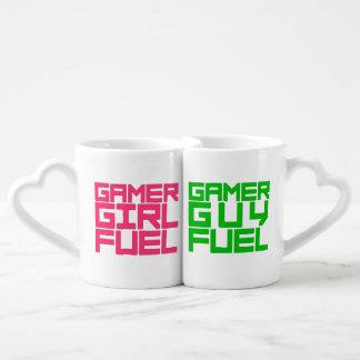 Set De Tazas De Café Elija el combustible del videojugador del chica o