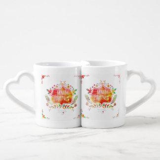 Set De Tazas De Café Felices Navidad retras de la acuarela