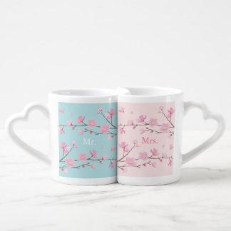 Set De Tazas De Café Flor de cerezo - azul de cielo - boda