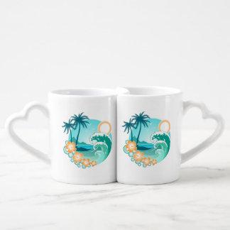 Set De Tazas De Café Isla hawaiana 1