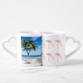 Set De Tazas De Café La palma de la playa del flamenco personaliza