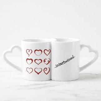 Set De Tazas De Café Los corazones únicos diseñan entrelazado para