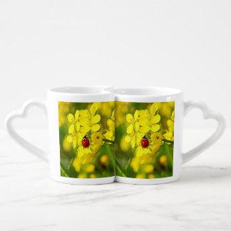 Set De Tazas De Café Mariquita amarilla del rojo de la buena suerte de
