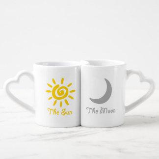 Set De Tazas De Café Pares de Sun y de la luna
