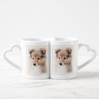 Set De Tazas De Café Perrito del perro pastor de Shetland