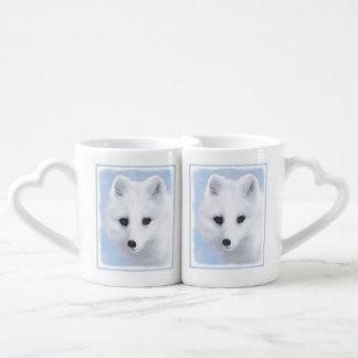 Set De Tazas De Café Pintura del Fox ártico - arte original de la fauna