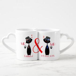 Set De Tazas De Café Regalo de Sr. y de boda de Sr. Gay Couples