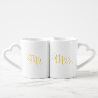 Set De Tazas De Café Sr. de oro señora Lovers Mug de la escritura